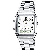 Casio AQ230A-7DMQ Men's Classic Combi Dual Time Watch│Silver With White Dial│New