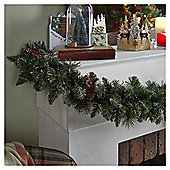 Traditional Christmas Garland with Pinecones and Berries, 1.8M