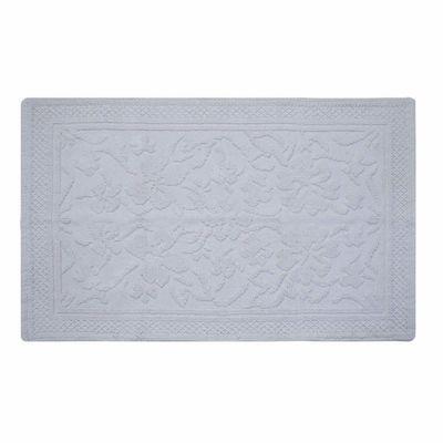 Homescapes White Cotton Jacquard Floral Rug, 60 x 100 cm