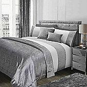 Sienna Glitter Duvet Cover with Pillow Case Sparkle Velvet Bedding Set - Silver