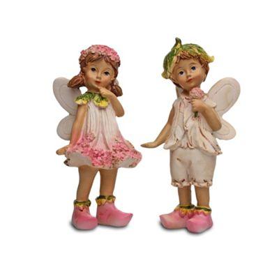 Set of Two Standing Flower Fairy Resin Garden Ornaments