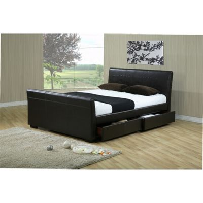 Brown Four Drawer Sleigh Style Faux Leather Bed Frame - Double 4ft 6