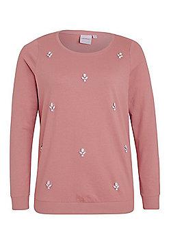 Junarose Embellished Jersey Plus Size Top - Peach