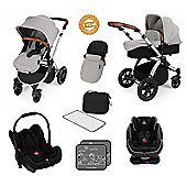 Ickle Bubba Stomp V3 AIO Isofix Travel System plus 2nd Stage Group 1,2,3 Car Seat - Silver (Silver Chassis)