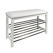 EHC Shoe Rack With Upholstered Top Tier