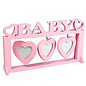 Wooden 3 Heart Aperture Photo Frame - Pink