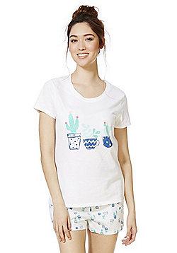 F&F Cactus Print Shorts Pyjamas - White & Blue