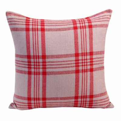 Homescapes Grey & Red Tartan Pattern Cushion Cover, 60 x 60 cm