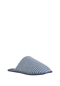 F&F Striped Jersey Mule Slippers - Navy