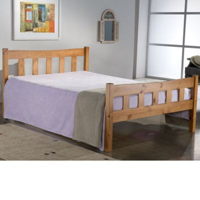 Happy Beds Miami Wood High Foot End Bed with Orthopaedic Mattress - Antique Pine - 4ft6 Double