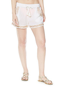 F&F Embroidered Beach Shorts - White