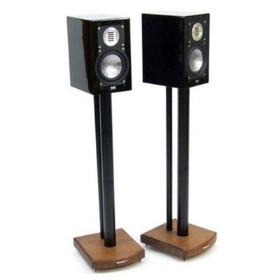 MOSECO 7 Black and Dark Oak Speaker Stands