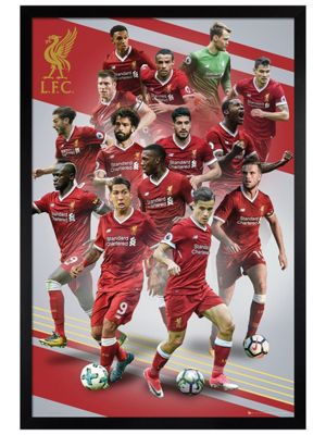 Liverpool FC Black Wooden Framed Players 17-18 Poster 61x91.5cm