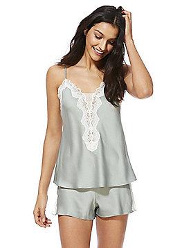 F&F Lace Trim Cami and Shorts Pyjama Set - Green