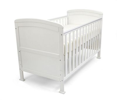 Penelope - Cot Bed/Toddler Bed W/ Sprung Mattress & Teething Rails - White
