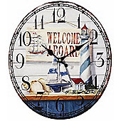 Welcome Aboard, Nautical Oval Shaped Clock