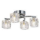 Modern 4-Bulb Ceiling Light with Clear Ice Cube Shades