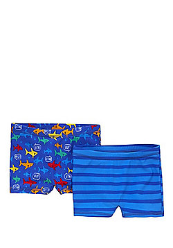 F&F 2 Pack of Fish Print and Striped Swimming Trunks - Blue
