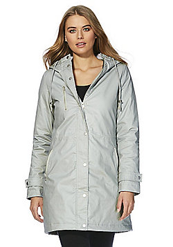F&F Waxed Effect Shower Resistant Hooded Parka - Grey