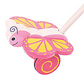Bigjigs Toys Wooden Butterfly Push Along - Walking Toys for Babies and Toddlers