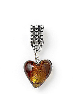 Amber Hanging Heart Slide On Bead