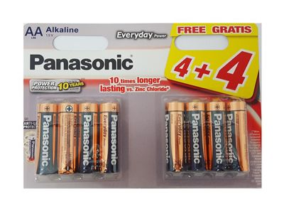 8 x Panasonic AA Batteries Everyday Power Silver Alkaline LR6