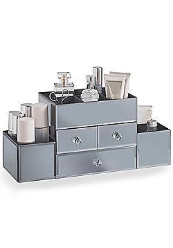 Beautify 3 Drawer Smoked Grey Mirrored Glass Jewellery Box Makeup Organiser Case