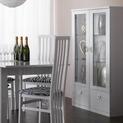 Caxton Manhattan 3 Glazed Door / 2 door Display Cabinet in White Gloss