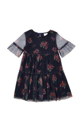 F&F Floral Tulle Dress Navy Multi 5-6 years