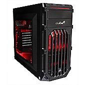 Cube Ryzen 5 Red LED Gaming PC 8GB 1TB Hybrid WIFI Add your own GPU Win 10