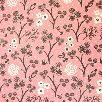 Rosehip Gift Wrap - Pink/White Flowers