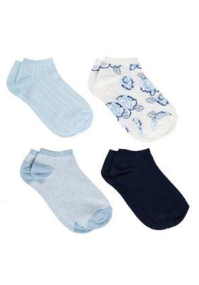 F&F 4 Pair Pack of Rose Trainer Socks Blue Multi M-L