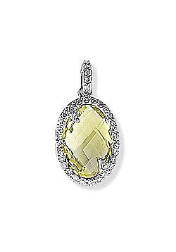 Ladies 9ct White Gold Pave Diamond Pineapple Quartz Oval Frame Charm Pendant 11 x 22mm