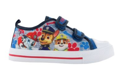 Boys Paw Patrol Blue Canvas Soft Touch Trainer Hook and Loop Shoes UK Size 5