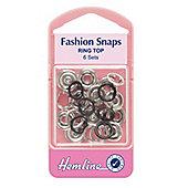 Hemline 11mm Black Ring Top Fashion Snaps (6 Sets)