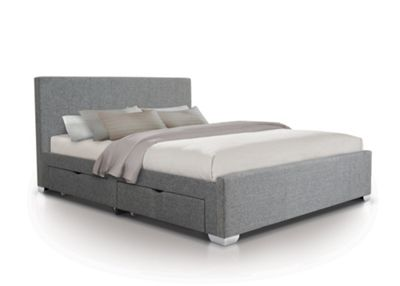 Fabric 4 Draw Bed - Double - Grey