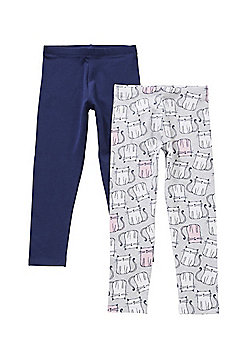 F&F 2 Pack of Cat Print and Plain Leggings with As New Technology - Pink & Grey