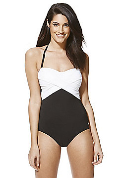 F&F Luxury Swimwear Tall Halterneck Bandeau Swimsuit - Black & White