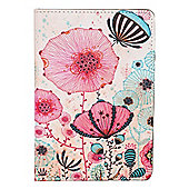 IPad 4 Mini Bright and Colourful Floral Illustration Faux Leather Stand Case