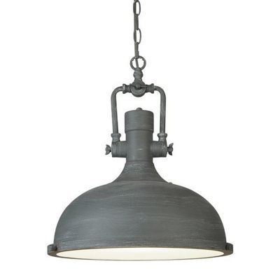 INDUSTRIAL PENDANT - 1 LIGHT PENDANT, CEMENT FINISH, FROSTED GLASS