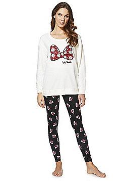 Disney Minnie Sequin Bow Pyjamas - Cream & Black