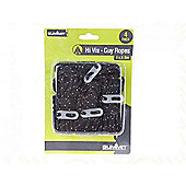Summit Black High Vis Guy Ropes with Tensioners - 4 Pack