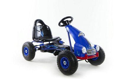 RideonToys4u Pedal Go Kart With Rubber Air Wheels & Gear Brake Lever Blue
