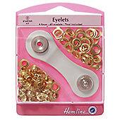 Hemline 5.5mm Gold Brass Eyelet Starter Kit With Grommet Tool (40 sets)