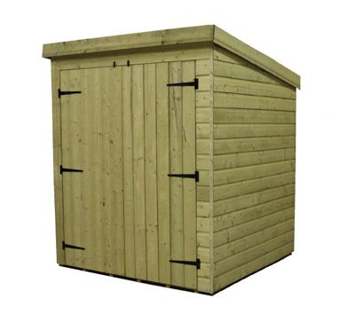 6 x 4 Maldon Windowless Pressure Treated T&G Pent Shed + Double Doors (6ft x 4ft)