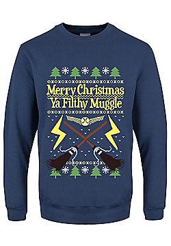 Merry Christmas Ya Filthy Muggle Christmas Jumper Sweater - Blue