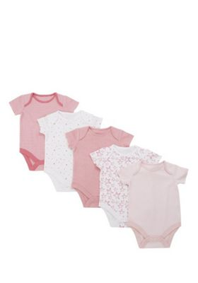 F&F 5 Pack of Plain, Striped and Star Short Sleeve Bodysuits Pink 3-6 months
