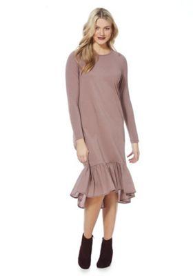Noisy May Long Sleeve Midi T-Shirt Dress S Mink