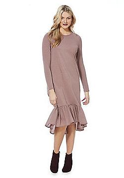 Noisy May Long Sleeve Midi T-Shirt Dress - Mink