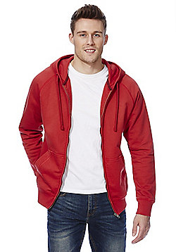 F&F Garment Dyed Zip-Through Hoodie - Red